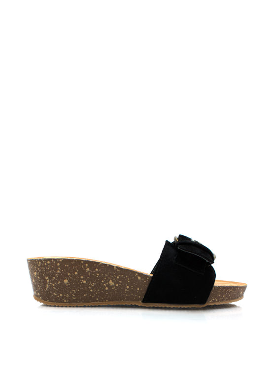 Oversized Buckle Low Wedge Sandals BLACK