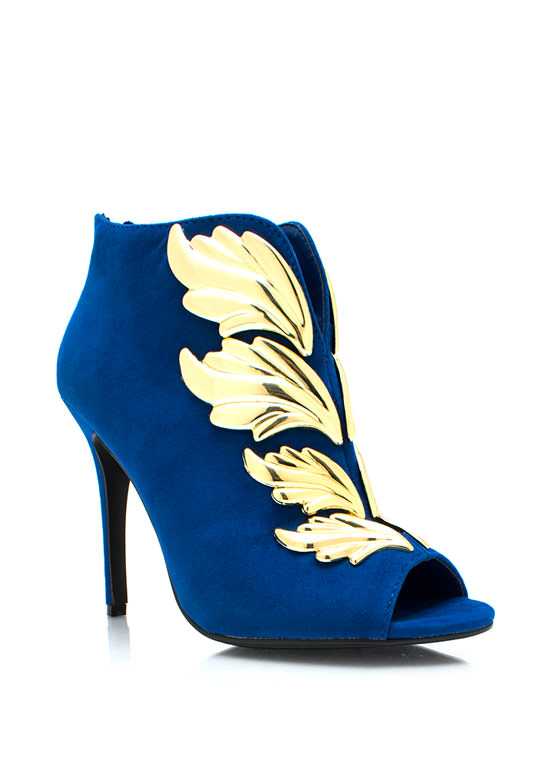 Wing It Faux Suede Booties BLUE