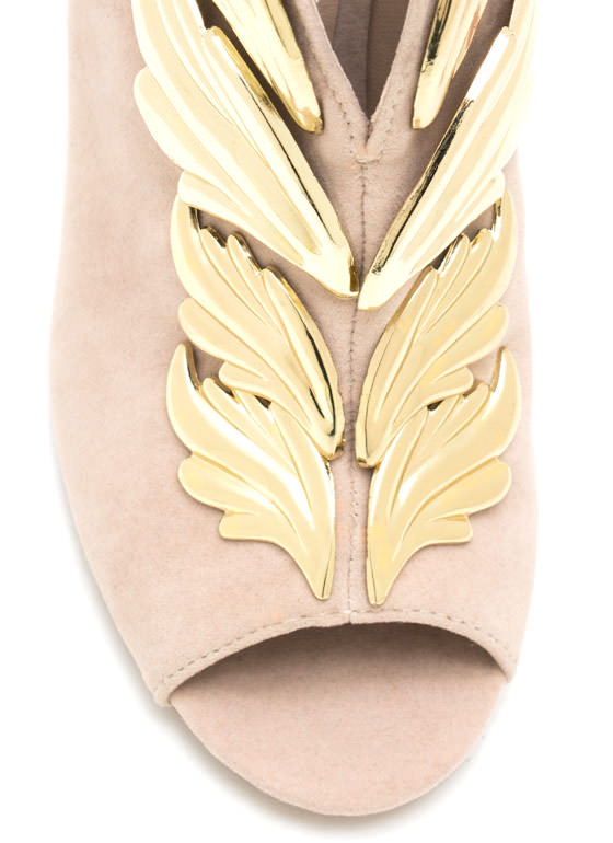 Wing It Faux Suede Booties NUDE