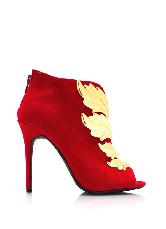 Wing It Faux Suede Booties RED