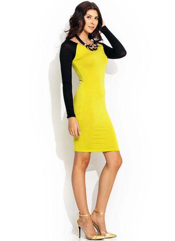 Go To Bat Raglan Midi Dress CITRON