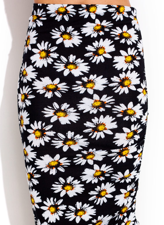 Oopsy Daisy Ruched Midi Skirt BLACK