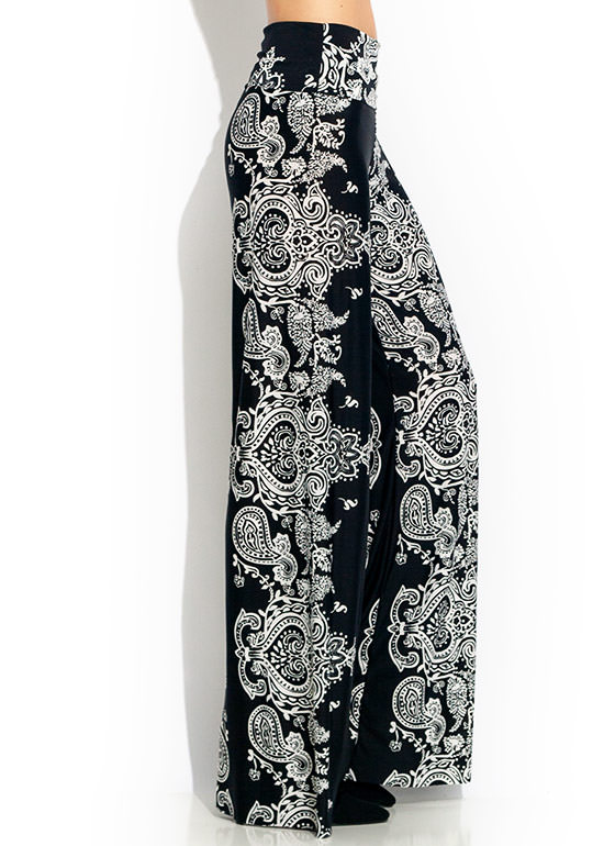 Paisley Scroll Palazzo Pants BLACKWHITE