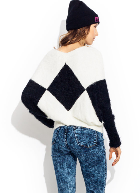 Fuzzy Contrast Harlequin Sweater BLACKIVORY