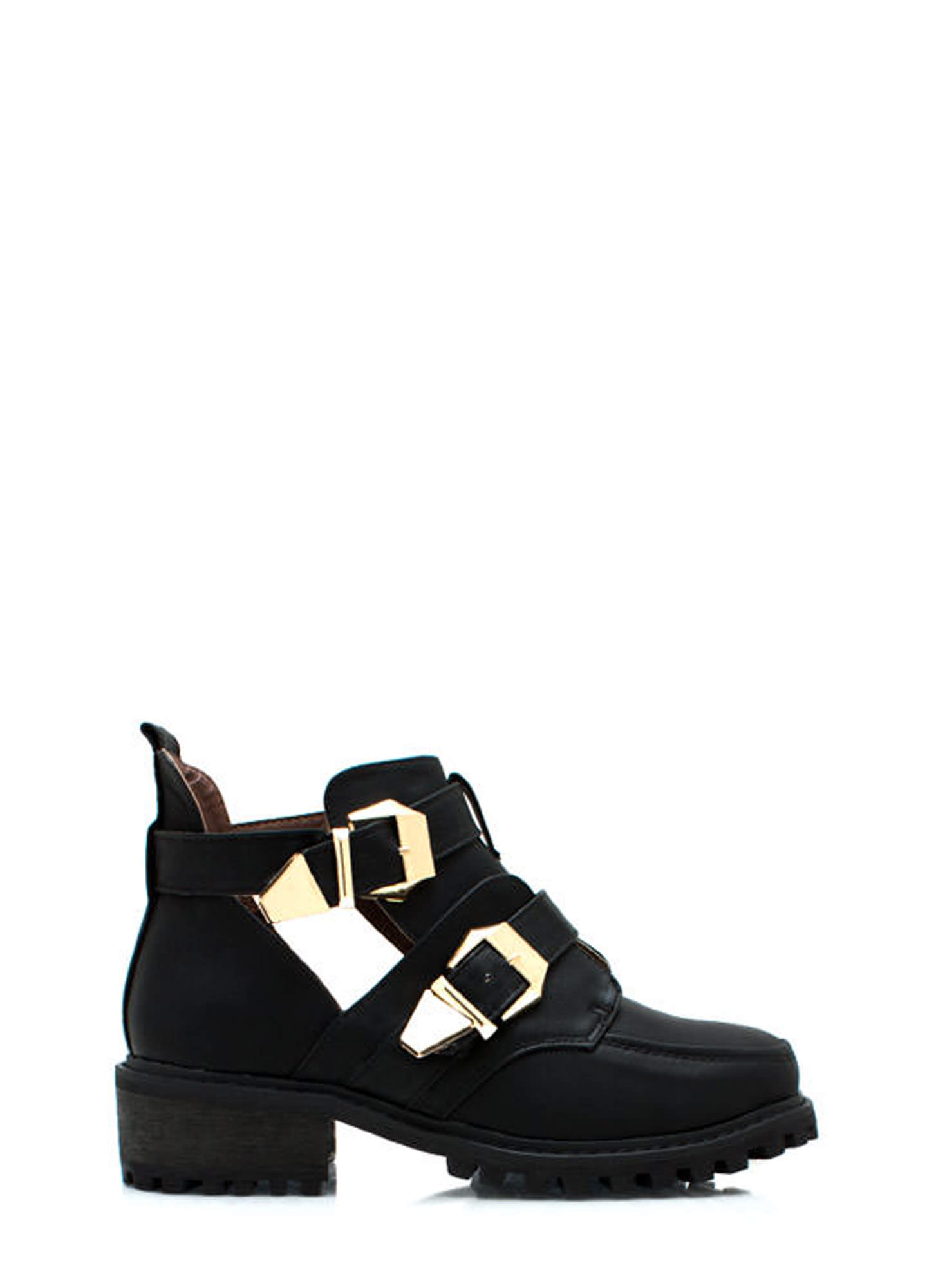 Tipped Off Strappy Cut Out Boots BLACK