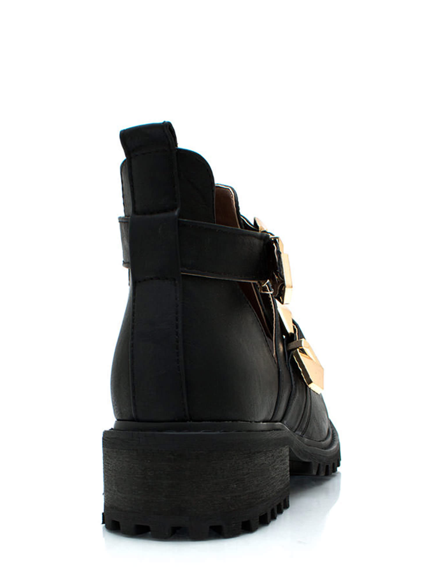 Tipped Off Strappy Cut Out Boots BLACK (Final Sale)