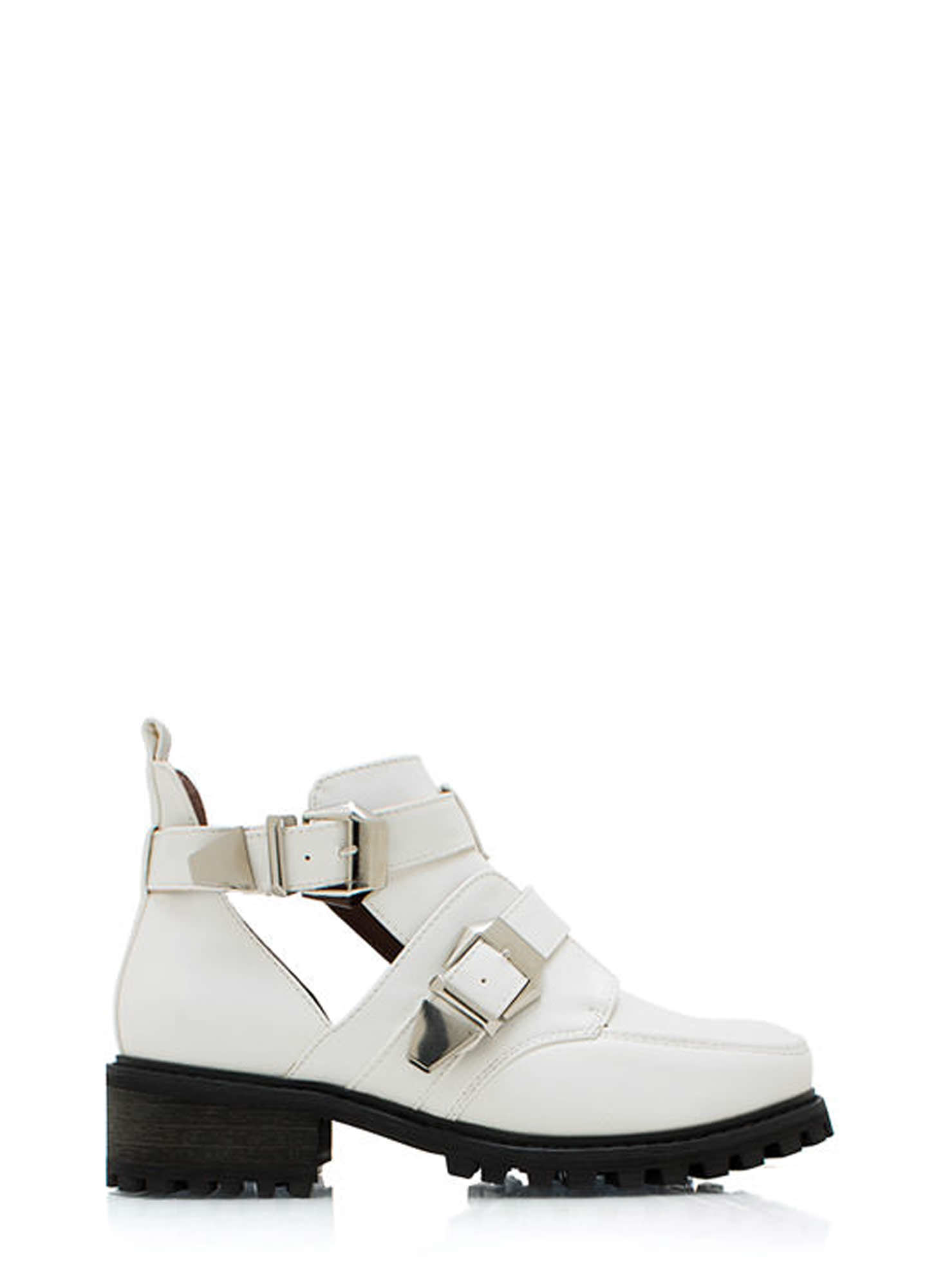 Tipped Off Strappy Cut Out Boots WHITE