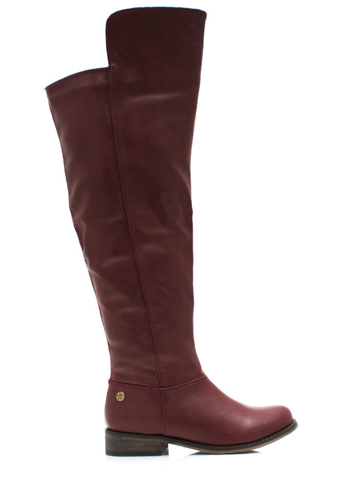 Higher And Higher Riding Boots RED