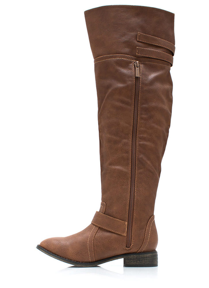 Strapped And Ready Riding Boots TAN