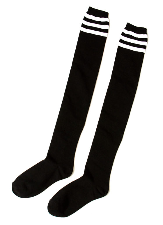 Hit Your Stripe Thigh High Socks BLACKWHITE