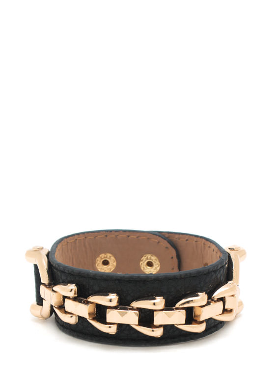 Chain Game Faux Leather Bracelet BLACKGOLD
