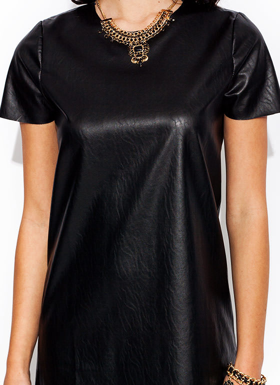 Shift Happens Faux Leather Dress BLACK