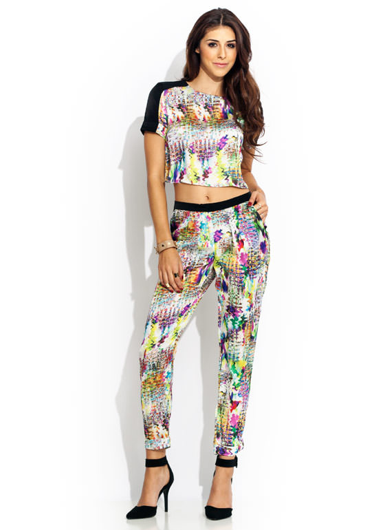Abstract Act Silky Cropped Top WHITEPINK