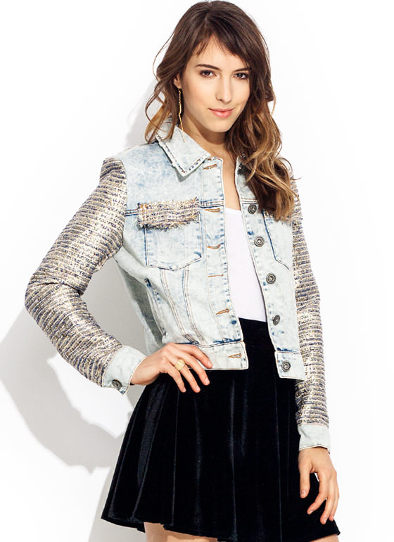 Lurex You In Denim Jacket LTBLUE