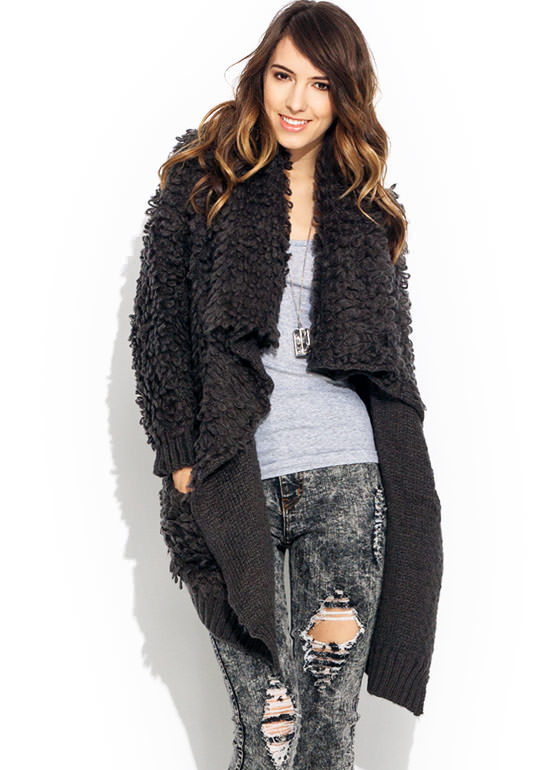 Get Loopy Draped Shawl Cardigan CHARCOAL