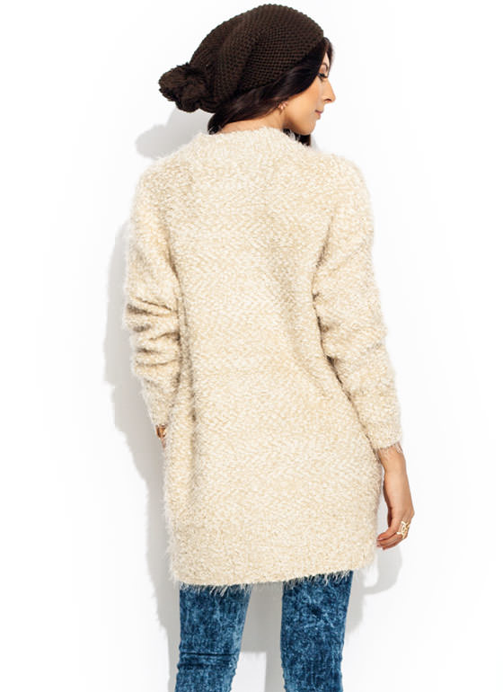 Like Big Buttons Fuzzy Cardigan IVORY