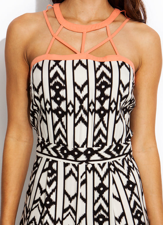 Crossed Lines Tribal Jumpsuit IVORYBLACK