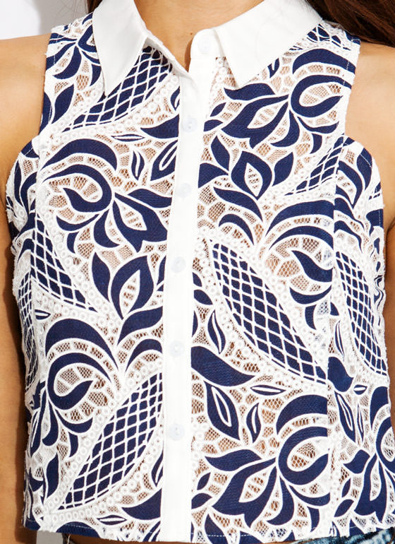 Net It Fly Collared Lace Top WHITENAVY