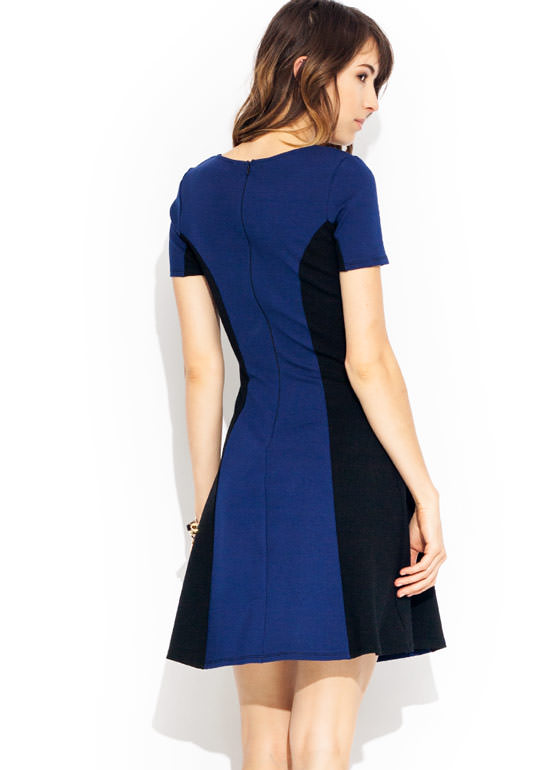 Colorblocked Skater Dress BLACKNAVY