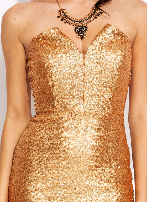 Scaled Sequined Sweetheart Dress GOLD