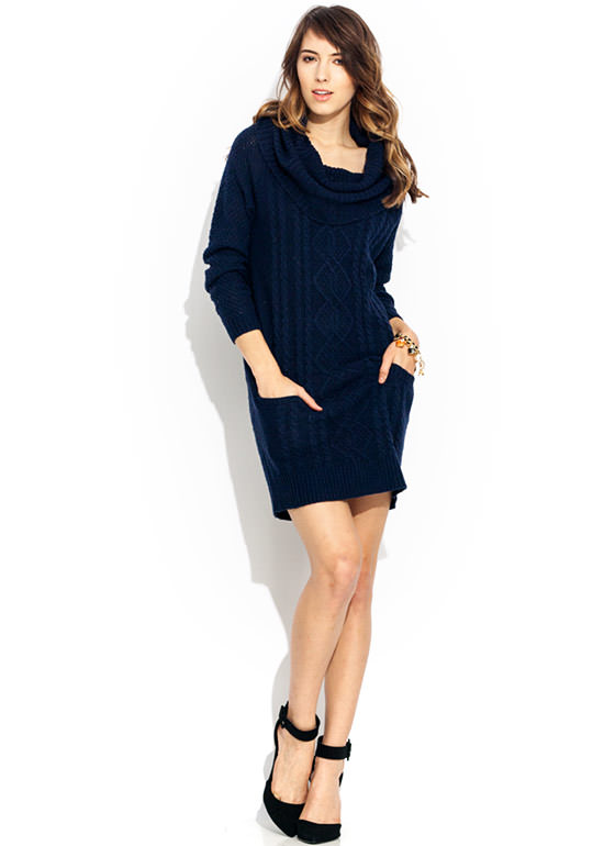 Knit Cowl Neck Sweater Dress NAVY