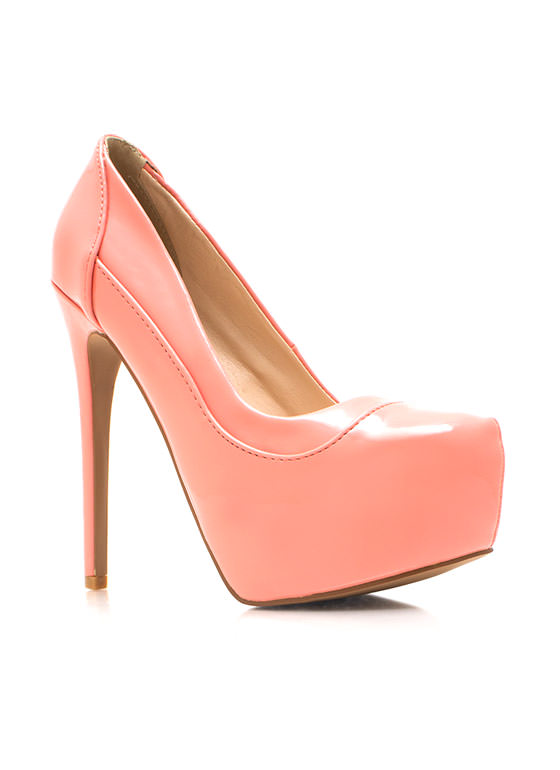 Piece Together Faux Patent Pumps SALMON (Final Sale)