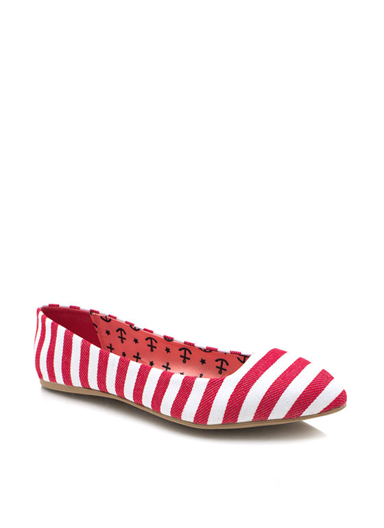 Nauti Girl Striped Canvas Flats REDWHITE