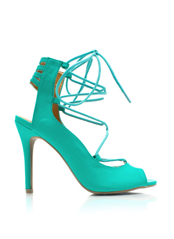 Tied Up Laddered Heels SEAGREEN
