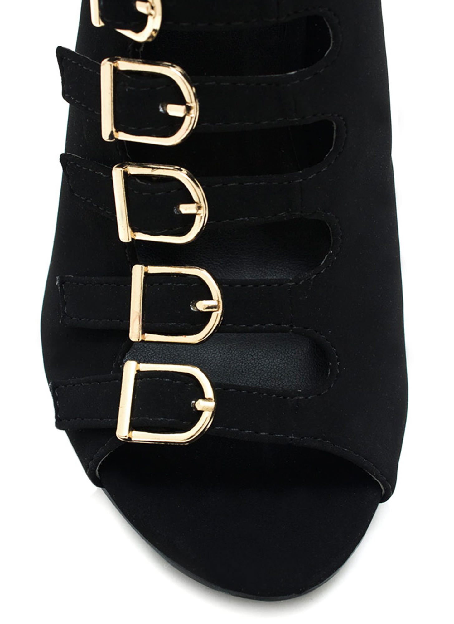 Buckle List Faux Nubuck Heels BLACK