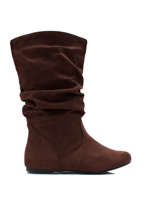 Slouched Over Faux Suede Boots TOBACCO