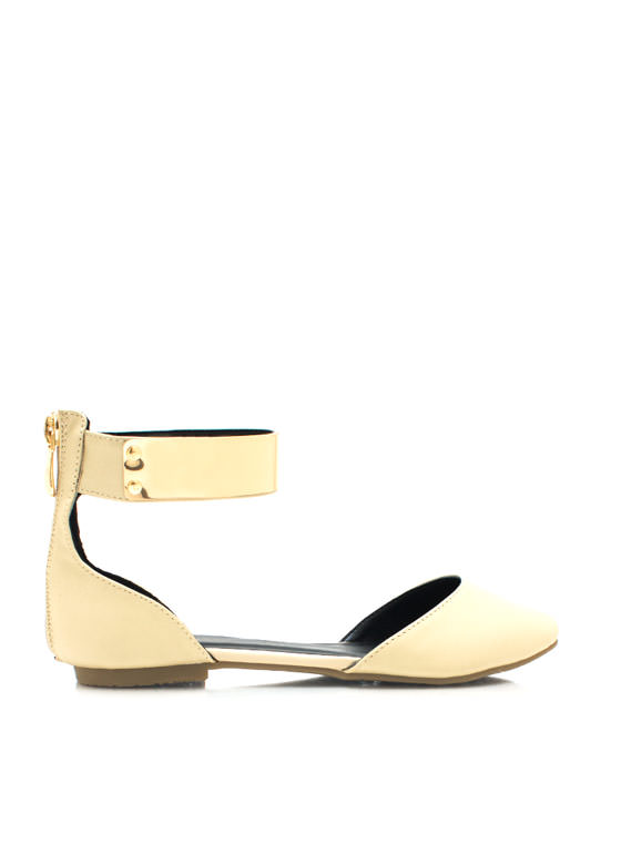 Plate It Cool Faux Leather Flats BEIGE