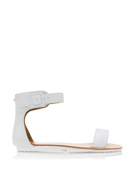 Single Band Flat Sandals WHITE