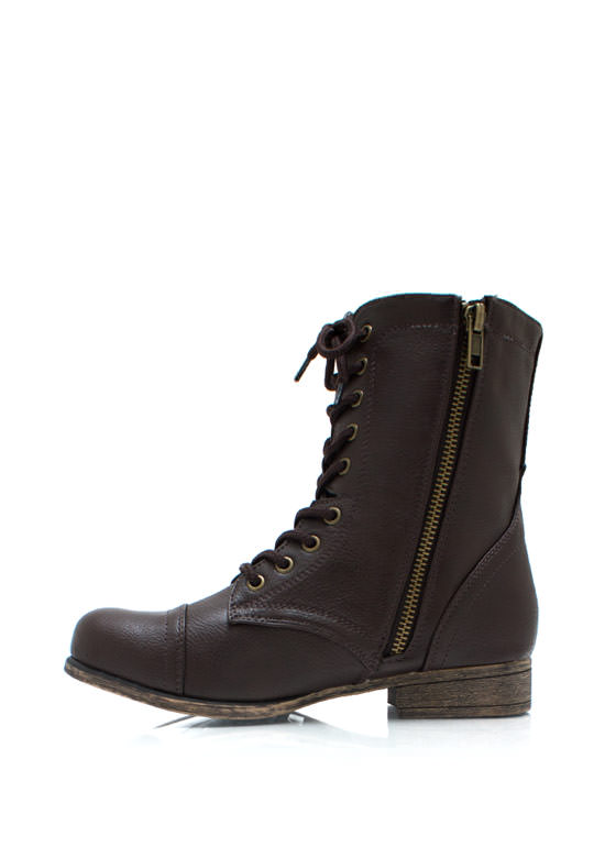 Pebbled Faux Leather Boots BROWN
