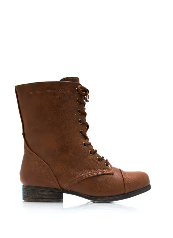 Pebbled Faux Leather Boots CHESTNUT