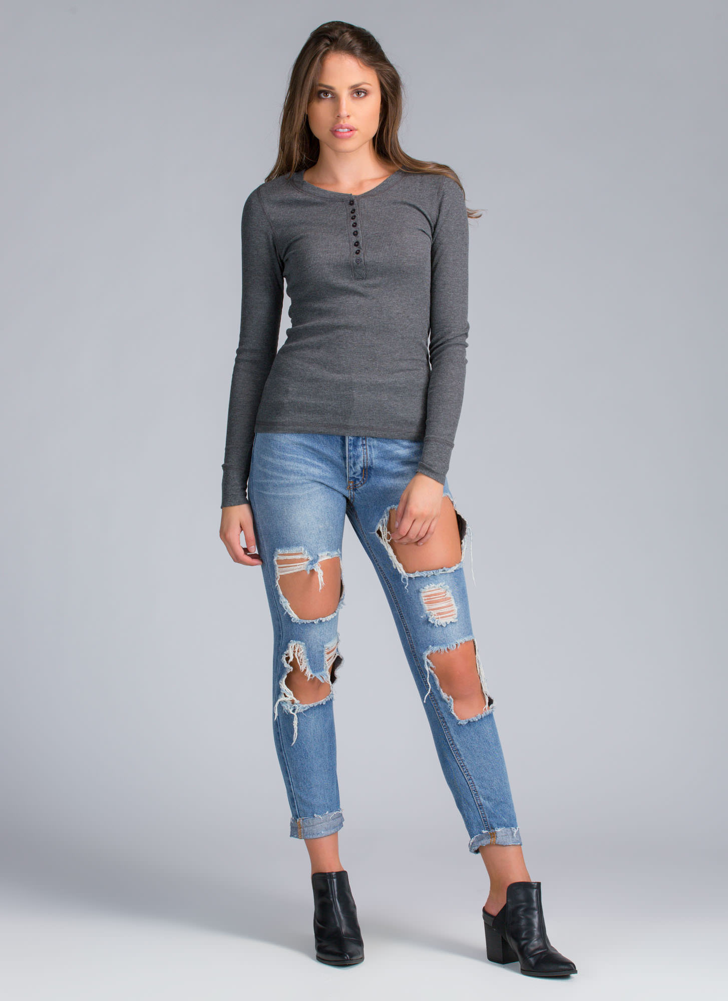 Boyfriend Who Henley Thermal Top CHARCOAL