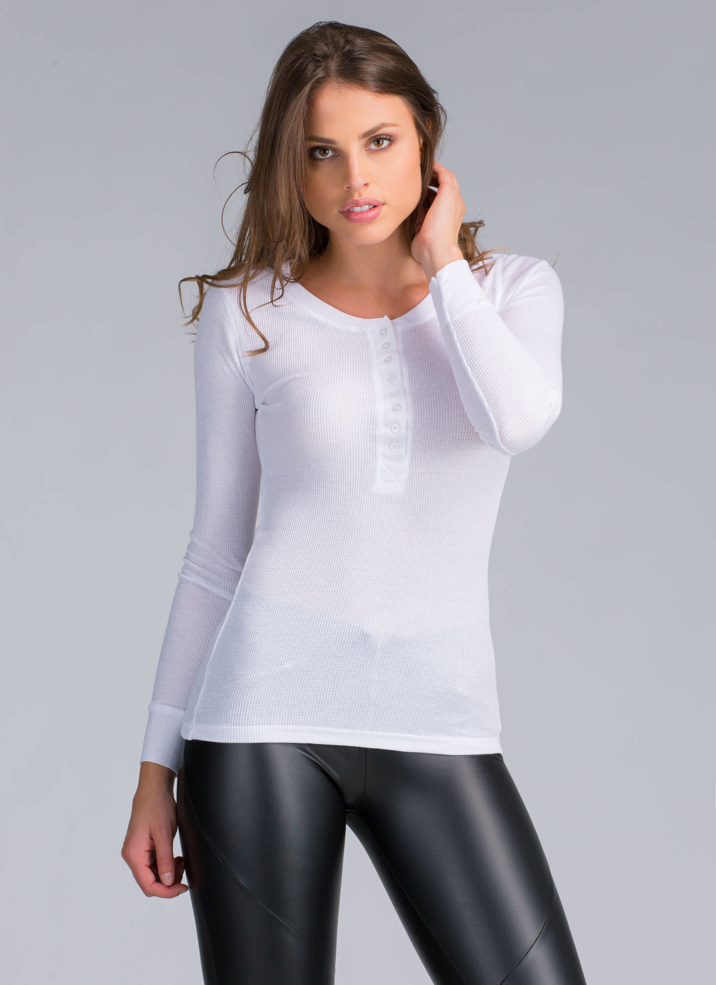 Boyfriend Who Henley Thermal Top WHITE