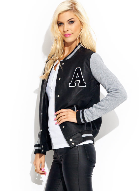 Game Night Lettermans Jacket HGREYBLACK