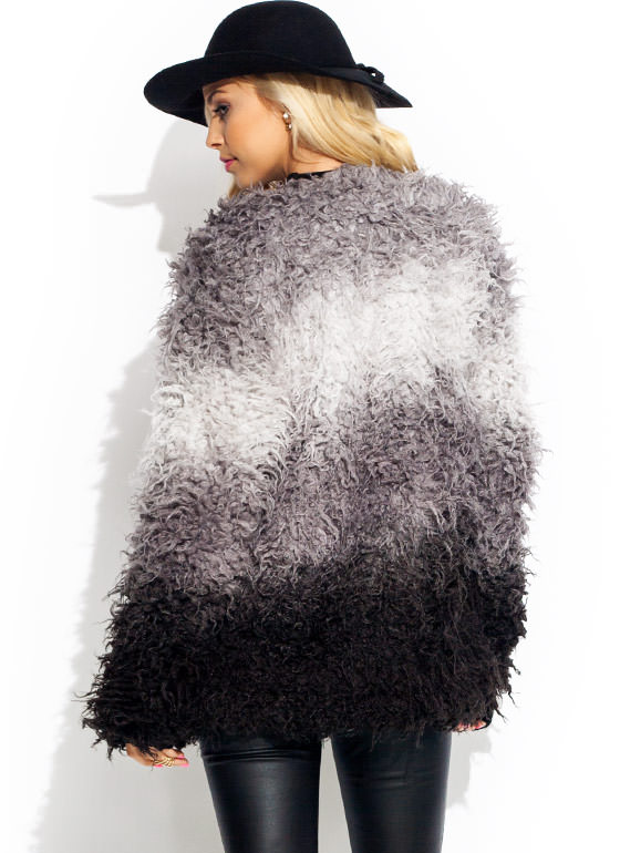 Take A Dip Dye Faux Fur Coat GREYBLACK