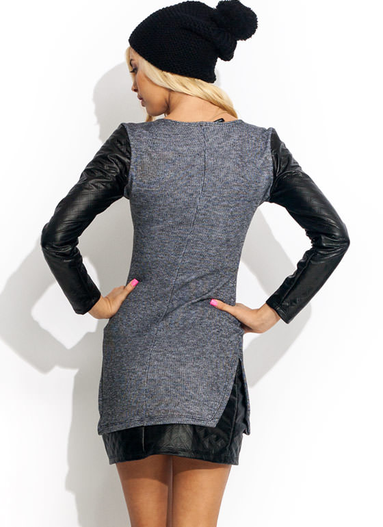Feeling Quilty Sweatshirt Dress GREY