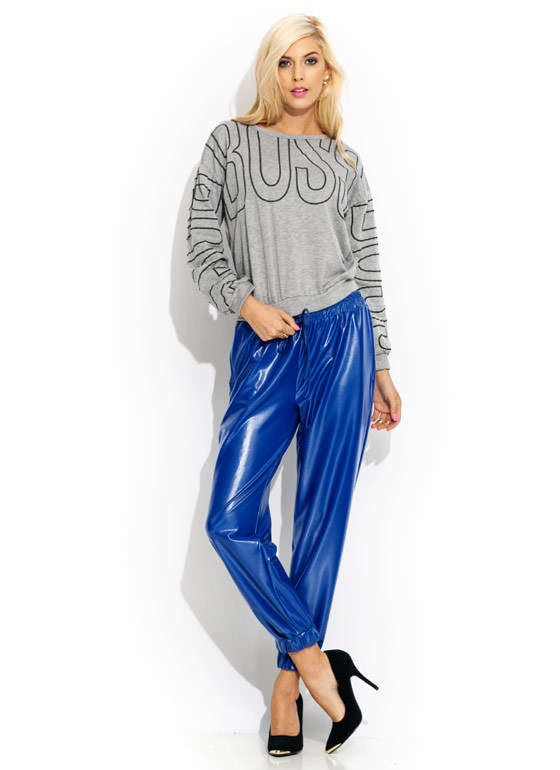 High Shine Faux Leather Joggers ROYAL