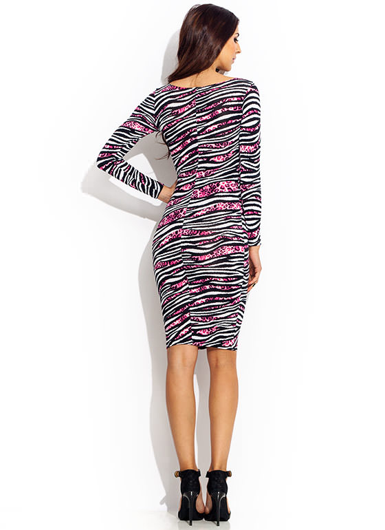 Hybrid Animal Striped Midi Dress FUCHSIABLK