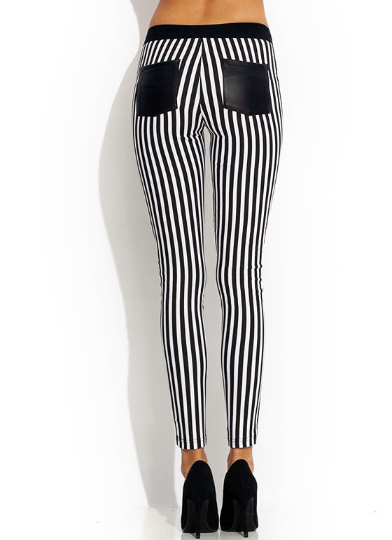 Faux Leather Real Stripes Skinny Pants BLACKWHITE