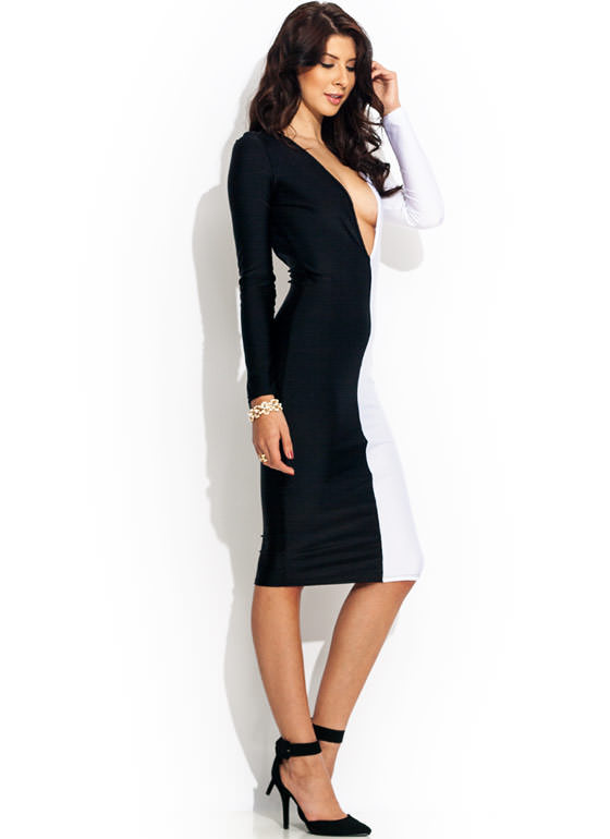 Plunging Colorblock Bodycon Dress BLACKWHITE