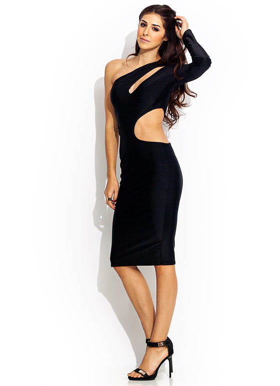 Cut It Out One Shoulder Dress BLACK