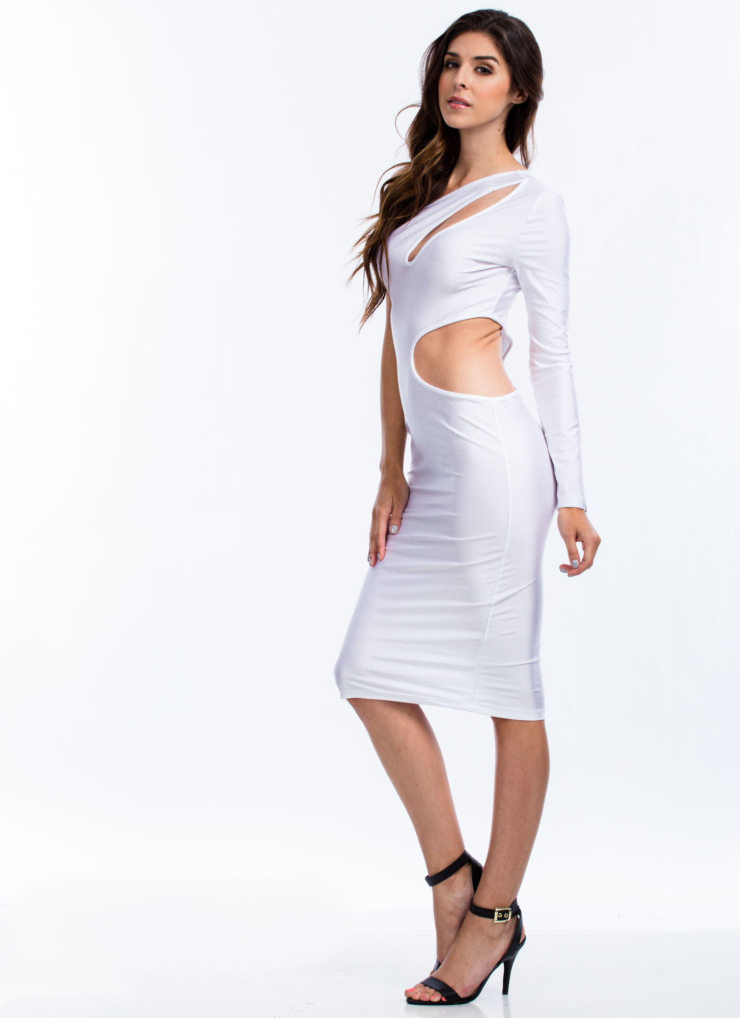 Cut It Out One Shoulder Dress WHITE