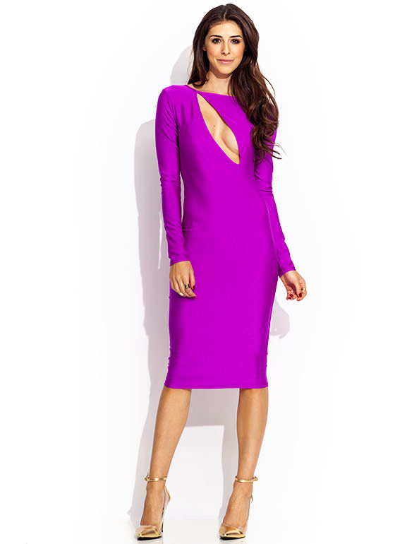 Split Second Midi Dress MAGENTA