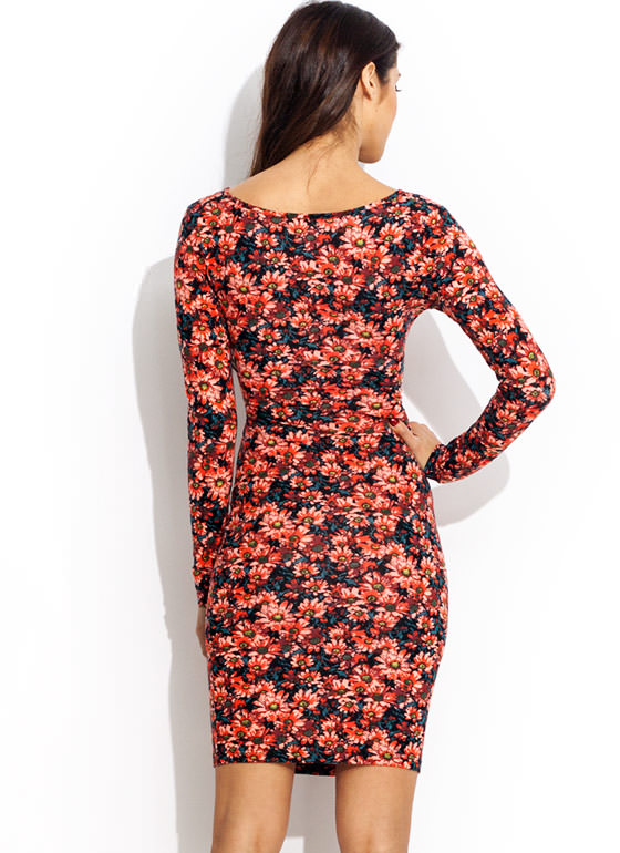 Floral Burst X Appeal Dress CORALBLACK