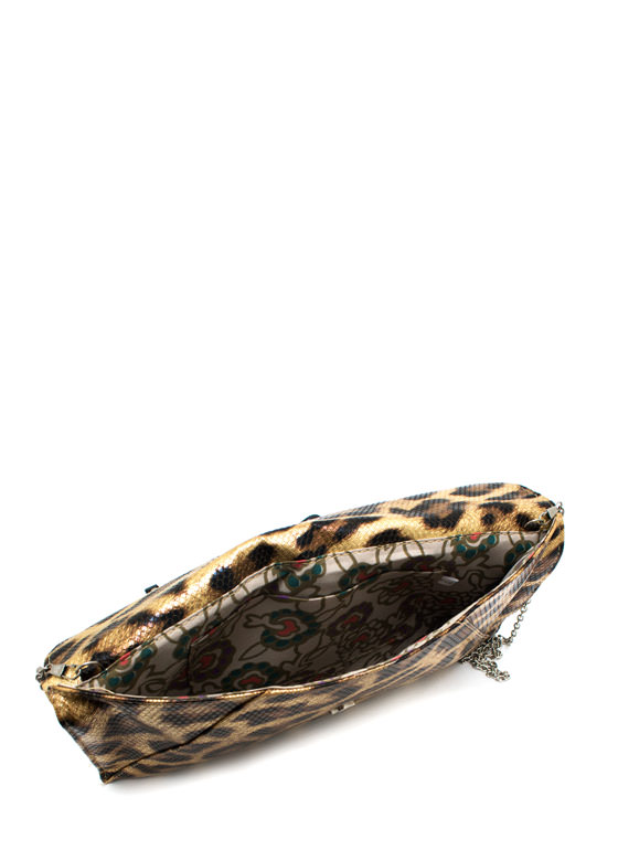 Metallic Leopard Envelope Clutch GOLDBLACK