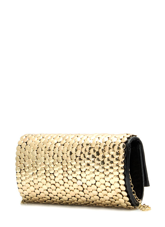 Metal Show Circle Studded Clutch BLACKGOLD