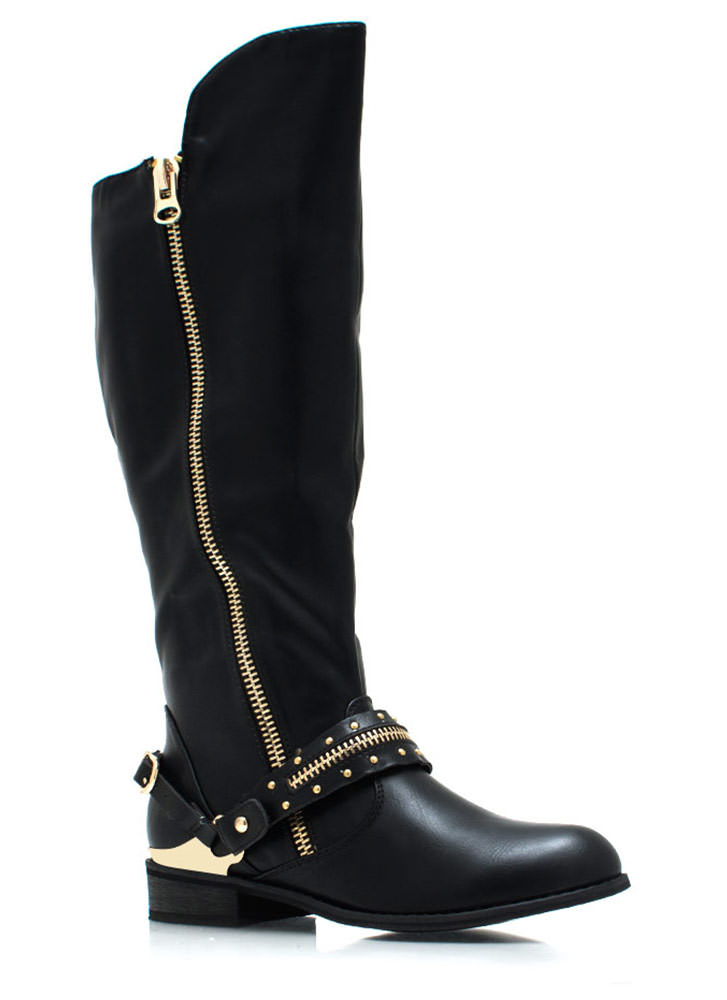 Spur You On Zippered Boots BLACK (Final Sale)